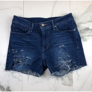 Levi's High Waist Stretchy Distressed Shorts 8